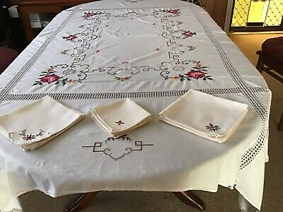 A Beautiful Cross Stitch  Tablecloth Plus 14 Serviettes  In Good Used Condition.