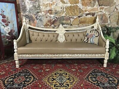 Vintage Chesterfield 3Seater Lounge~Sofa-Chair~French Style~Antique White~Timber