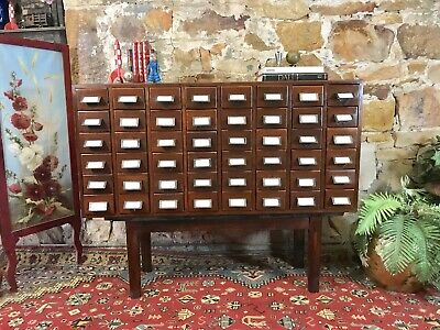 Antique 48 Drawers Filing Cabinet~Chest~Industrial~Timber~Storage~Mid Century