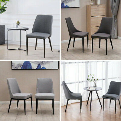 2 Modern Dining Chairs with Fabric Padded Seat Black Painting Legs Home Lounge