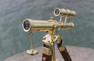 Nautical Solid Brass Double Barrel Nautical Telescope With Wooden Tripod Decor.