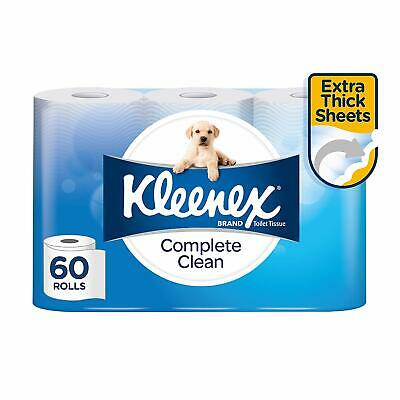 KLEENEX Toilet Tissue Complete Clean Toilet Paper 180 Sheets 60 Rolls