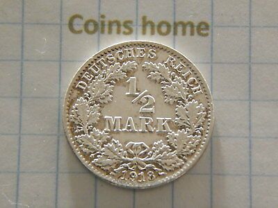 Coins Home Circulated 1918 D 1/2 mark Germany silver Lot#441/2663-2 Uncertified
