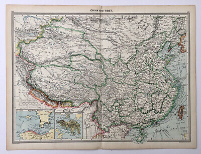 Original Antique Map - China with Hong Kong inset maps by George Philip.