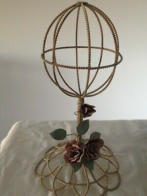 Vintage Shabby Chic Metal Hat Stand with Metal Roses