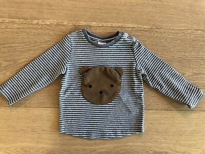 Seed Baby Boys Bear Pouch Long Sleeve T-shirt Size 6-12 Months