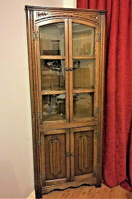 Vintage Oak genuine OLD CHARM Corner Cabinet by Wood Brothers With Label