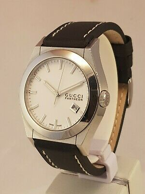 afbefbe37a1 Gent s Genuine Swiss Gucci Pantheon 115.2 White Dial Wristwatch Sapphire  Nice!