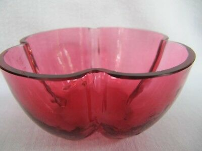 Antique Cranberry Glass Small Dish Bowl - Unusual Shape