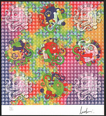 Mayan Skulls Signed Blotter Art By Lucifer Rare Limited Edition 46/100 - 2006