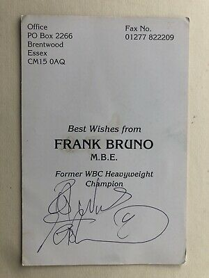 """Boxing Frank Bruno Signed Approx 6"""" X 4"""" Card"""