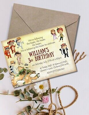 Peter Pan & The Lost Boys Never Land Personalised Invitations & Envelopes