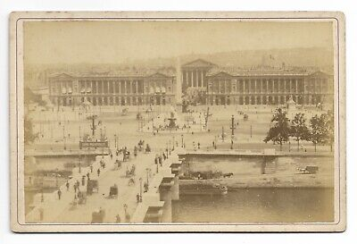 Place de la Concorde, Paris 1887 Antique Cabinet Card Photograph Animated 494M