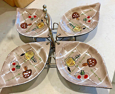 MID CENTURY - Very Unusual Dishes on Stand - Atomic Era