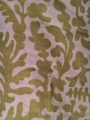 """Raoul Textiles """"Arcadia"""" pattern fabric; 2 yds. 100% linen; lime green on nat"""