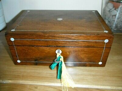 Victorian Jewellery/Sewing BOX mother of pearl pewter antique 19th century