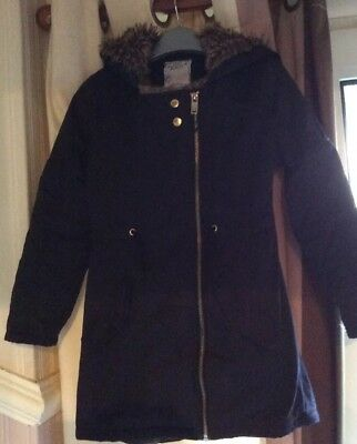 M&S Girls 7-8 Years Black Hooded Coat With Faux Fur Trim