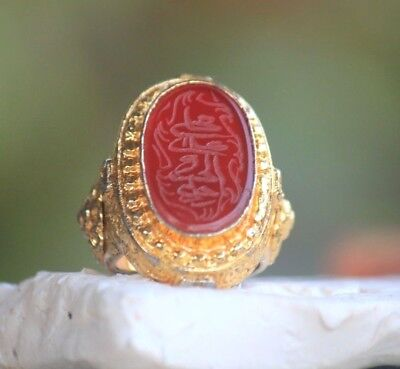 Intaglio  Afghan Carnelian Agate Stone Gold Gilded Silver Write Ring 7