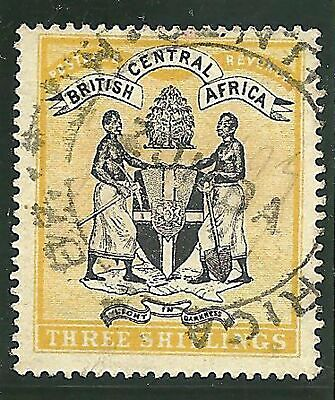 (282) Brit. Central Africa 1896  3 s/- CoA very fine used