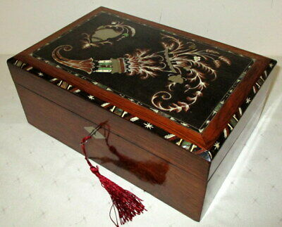 BEAUTIFUL EXTRA SMALL ANTIQUE ROSEWOOD & MARQUETRY WRITING SLOPE with key