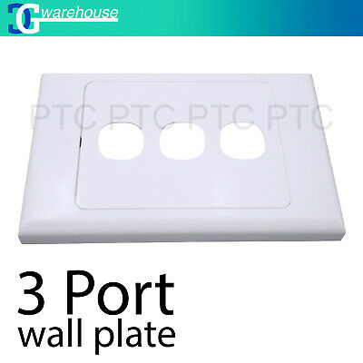 3 Port Wall Plate Wallplate Cover Custom Suit Mech Insert Clipsal Style White AU