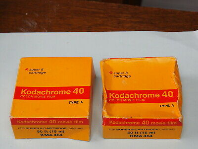 2 Sealed KODACHROME 40 Color MOVIE FILM - Super-8 Cartridge - 50-ft - Type A