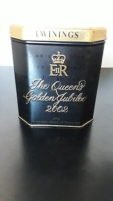 Twinings Tea Tin, The Queens Golden Jubilee 2002 (sealed with tea inside)