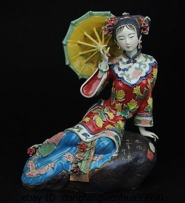 China Pottery Wucai Porcelain Art Home Display Woman Ladies Spring Rain Statue