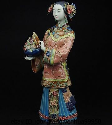 China Pottery Wucai Porcelain Display Longevity Woman Ladies Decoration Statue