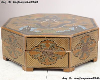 4''Chinese Folk Wood Carving Line Drawing Painting Dragon Flower jewellery Boxes