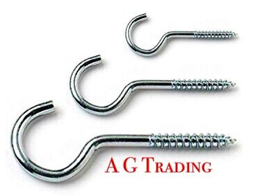 SMALL - LARGE Screw In Hooks Cup Heavy Wall Strong Coat Peg Kitchen Tool Hanger