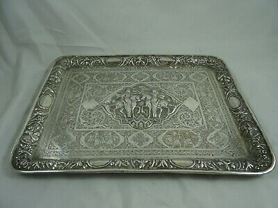 STUNNING PERSIAN solid silver TRAY, c1900, 695gm