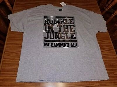 d5e027ae NEW Muhammad Ali Men's Vintage Rumble In The Jungle Gray Boxing T-Shirt  Size 4XL