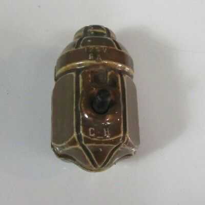 Antique/Vintage Brown Porcelain Light Switch hubbell Cutler GE Pendant 1911