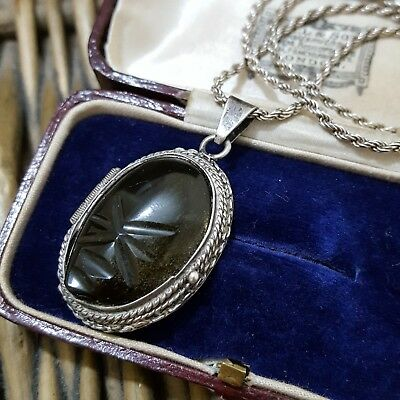 Vintage Sterling Silver Locket, Mexico, Black Sheen Obsidian, Maya Symbol, 16""
