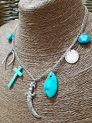 "Vintage Sterling Silver Necklace, Charms Necklace, Natural Turquoise, 16"" Long"