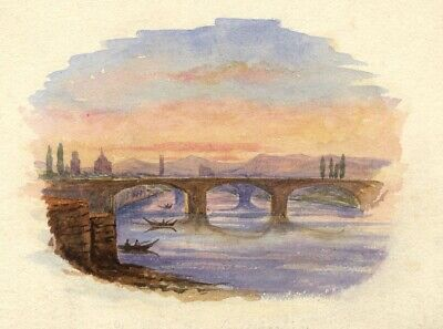 Dashwood, Arno Bridges from Ponte Vecchio, Florence - 1885 watercolour painting