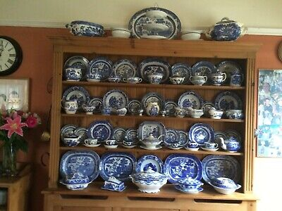 Selection of Antique Vintage Willow Pattern / Spode Blue and White Crockery