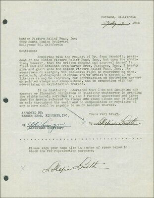 Alexis Smith - Document Double Signed 07/29/1946