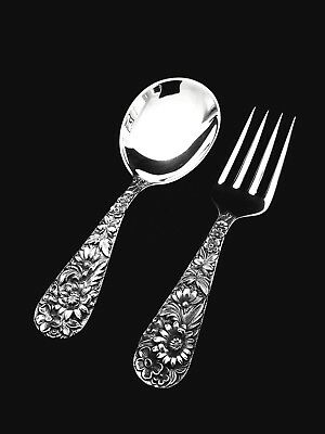 S. Kirk & Son Inc Repousse Sterling Silver Baby Fork and Spoon Set- GIFT QUALITY