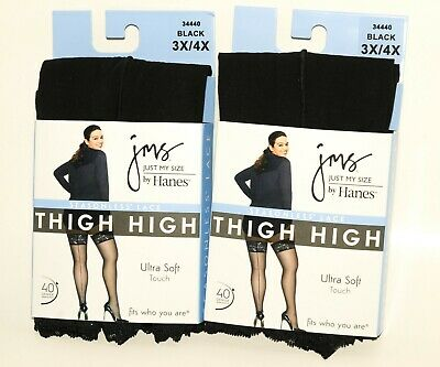 10fca57d3d4 Hanes Leggs Just My Size Silky Back Seam Seasonless Lace Thigh High  Stockings