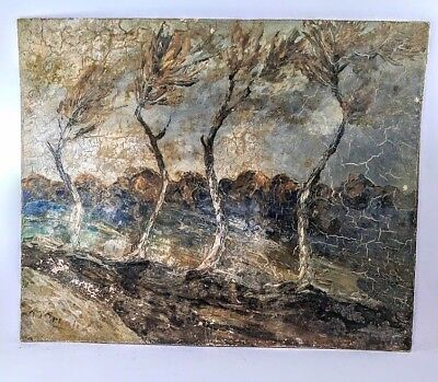 """Oil Painting ORIGINAL on Cardboard Old Vintage """"Four Trees in Wind"""" Wall Décor"""