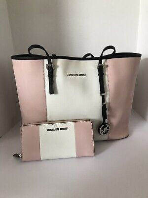 77820a702f33 Michael Kors Pink And White Striped Purse Handbag With Matching Wallet
