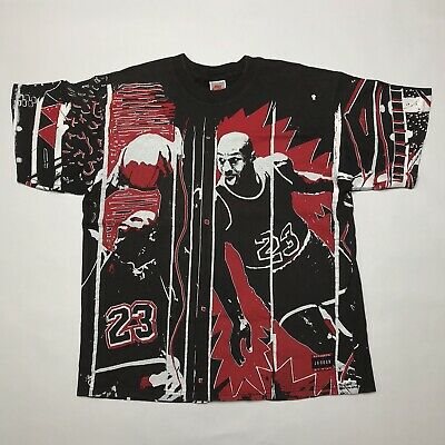 fe28ed58e84b Vtg 90s Nike Michael Air Jordan T Shirt Large USA All Over Print Og Flight  Rare