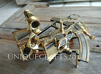 "vintage SOLID BRASS 8"" SEXTANT MARINE WORKING NAUTICAL COLLECTIBLE INSTRUMENT."