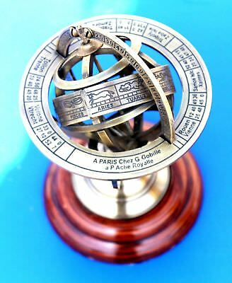"""5"""" Vintage Maritime Brass Armillary Base Wood Globe Sphere Collectible Gift Item"""