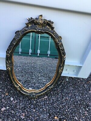 Vintage oval baroque style gold gilt wall mounted mirror 1970s reproduction
