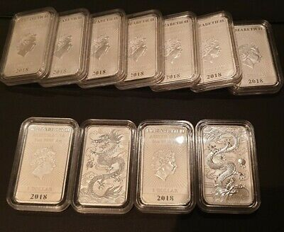 2018 1 Oz Silver Perth Mint Rectangular Dragon Coin supplied in Capsule (1 lot)