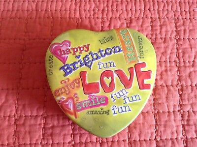 Advertising Brighton Love Happy Smile Heart Shaped Tin Container Collect