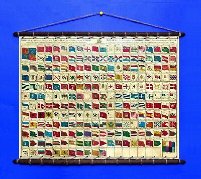 Naval Flags of The World 1783, Cotton Canvas swen w/ Vintage Wooden Round Hanger